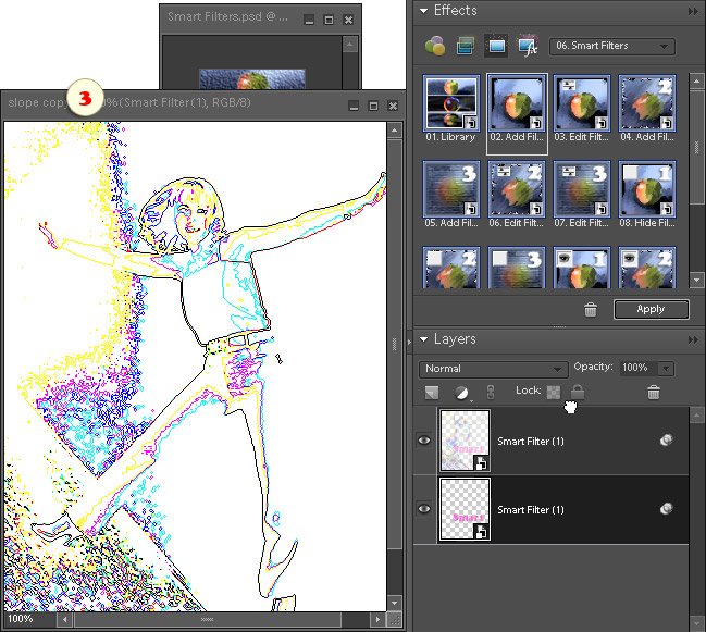 Rearranging filtered layers