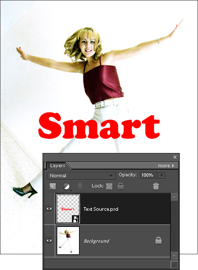 Placing PSD file with type layer as smart objecy